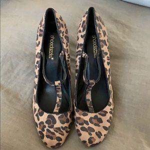 Never worn t-strap leopard print heels